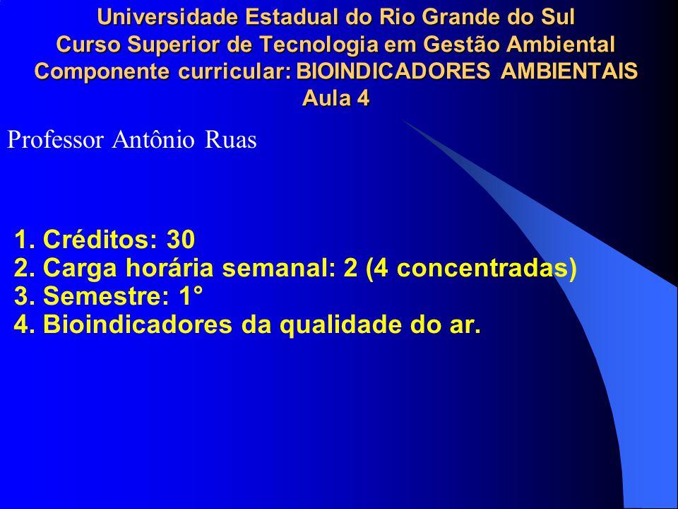 Universidade Estadual do Rio Grande do Sul Curso Superior de Tecnologia em Gestão Ambiental Componente curricular: BIOINDICADORES AMBIENTAIS Aula 4 1.