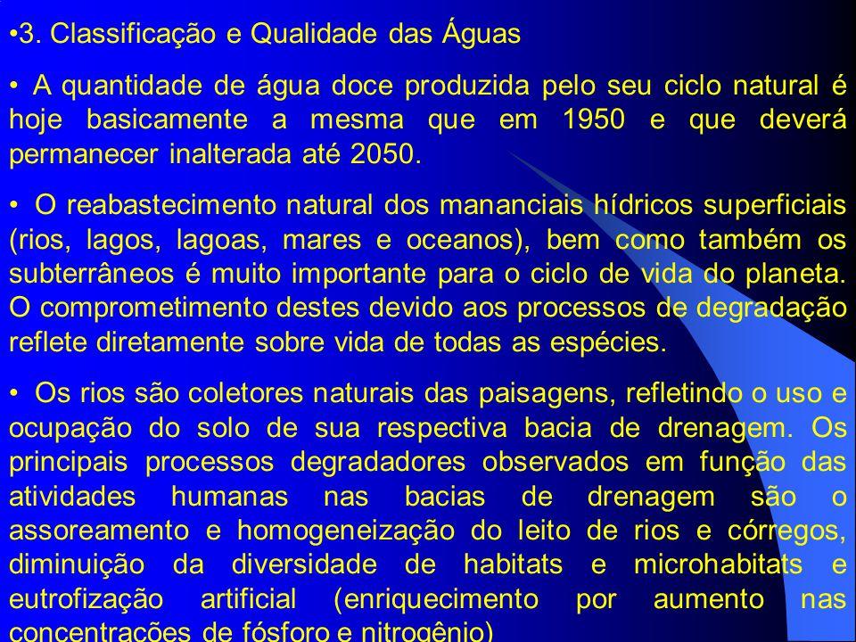 3. Classificação e Qualidade das Águas A quantidade de água doce produzida pelo seu ciclo natural é hoje basicamente a mesma que em 1950 e que deverá
