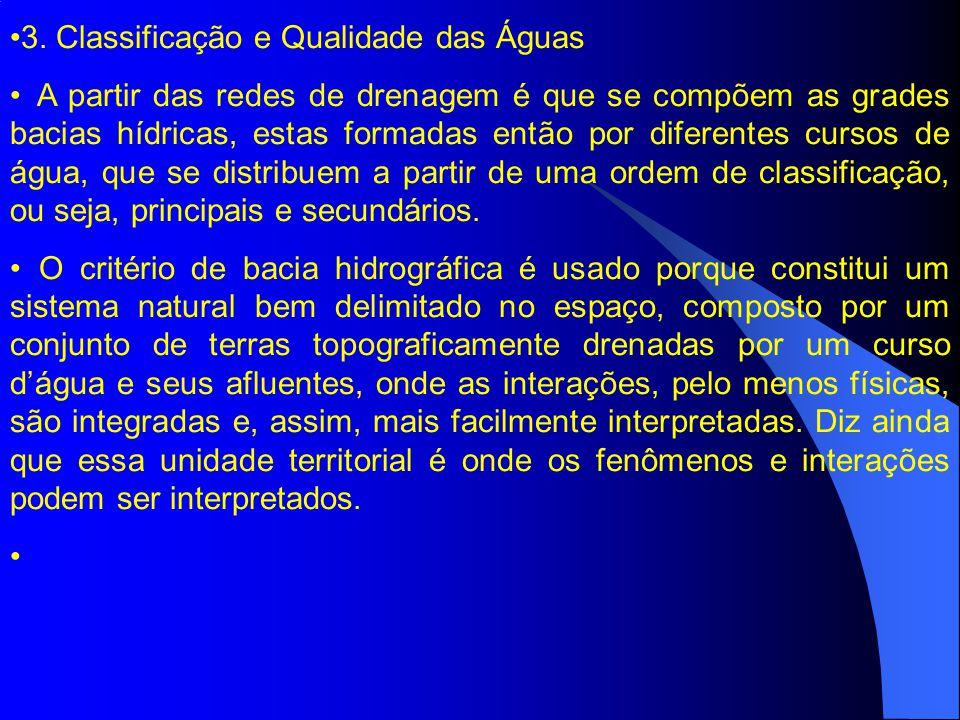 3. Classificação e Qualidade das Águas A partir das redes de drenagem é que se compõem as grades bacias hídricas, estas formadas então por diferentes