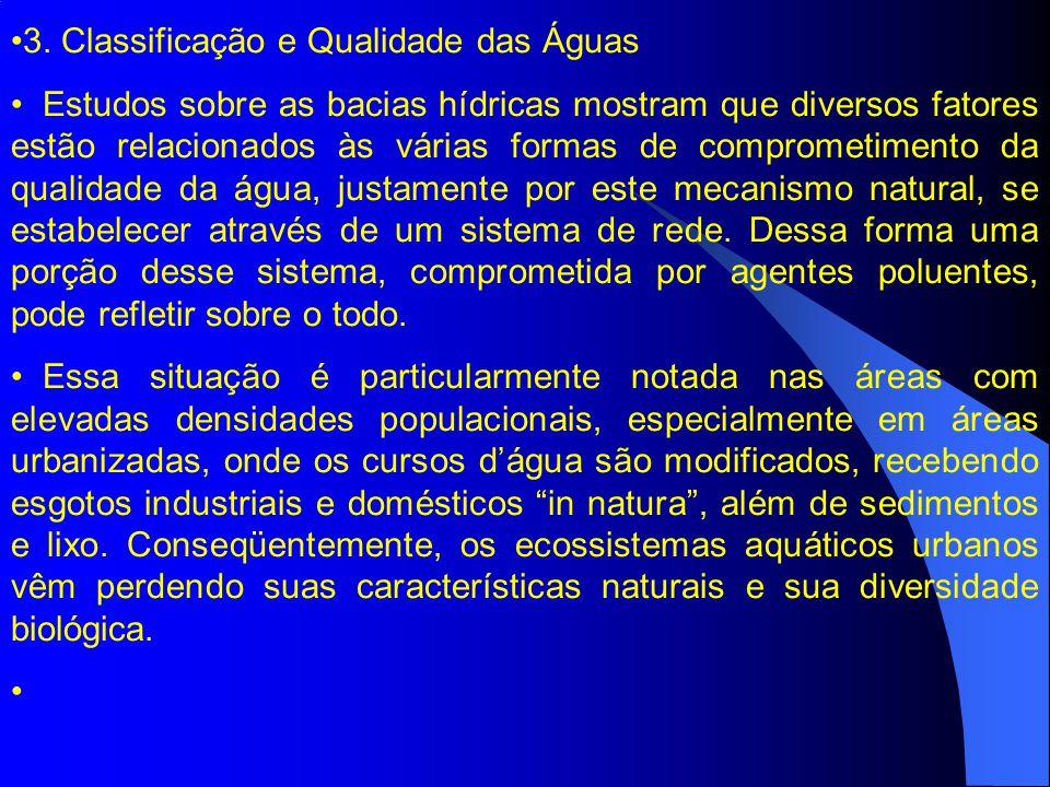 3. Classificação e Qualidade das Águas Estudos sobre as bacias hídricas mostram que diversos fatores estão relacionados às várias formas de comprometi