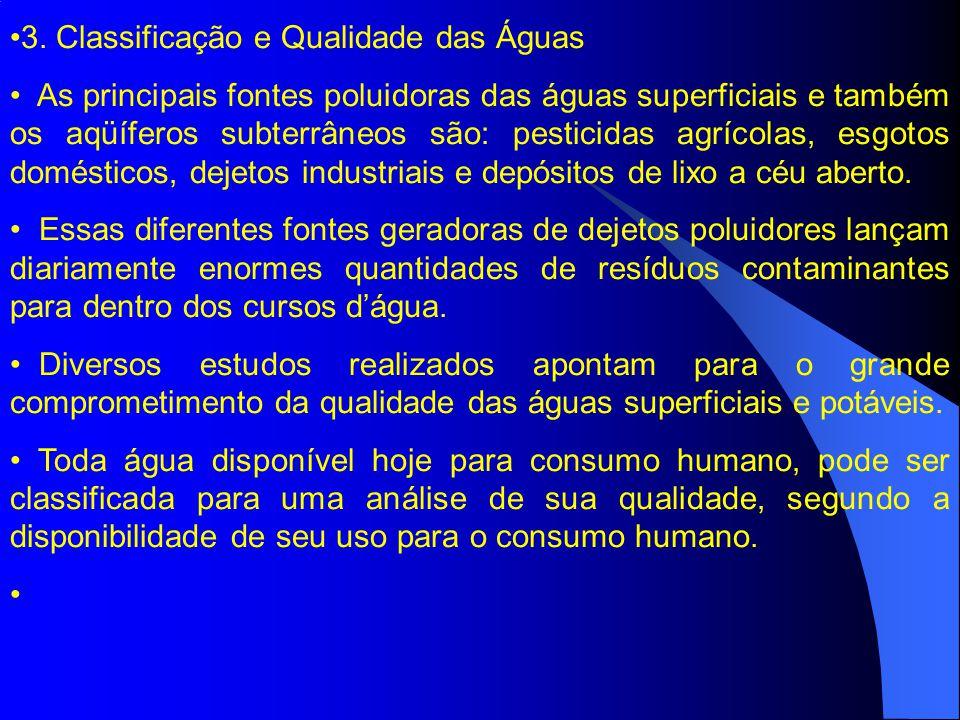 3. Classificação e Qualidade das Águas As principais fontes poluidoras das águas superficiais e também os aqüíferos subterrâneos são: pesticidas agríc
