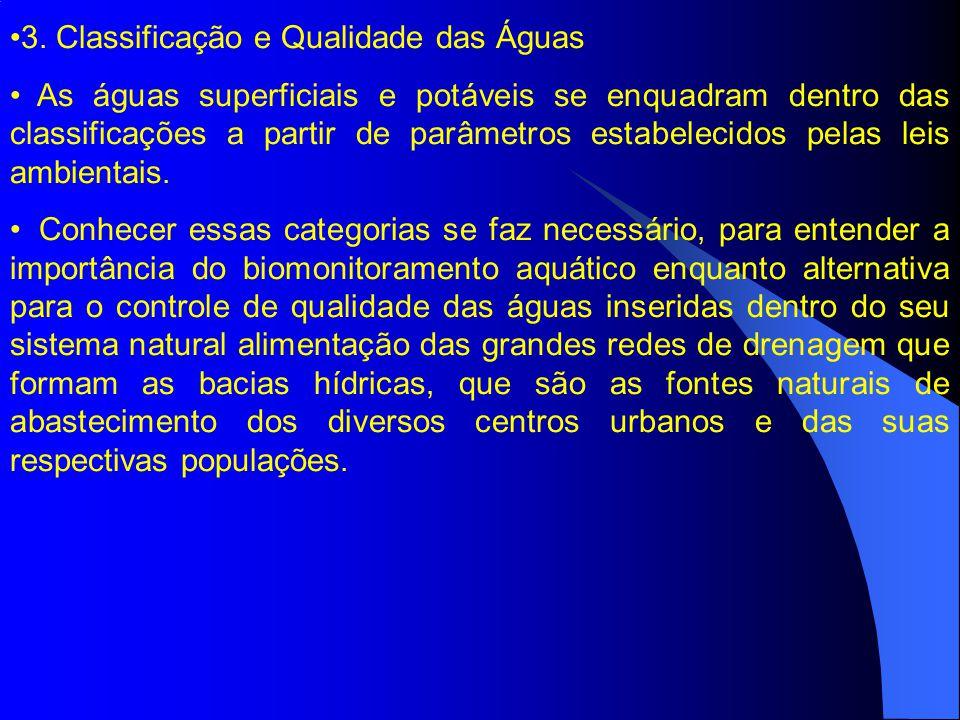 3. Classificação e Qualidade das Águas As águas superficiais e potáveis se enquadram dentro das classificações a partir de parâmetros estabelecidos pe