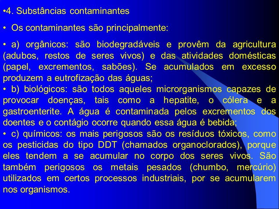 4. Substâncias contaminantes Os contaminantes são principalmente: a) orgânicos: são biodegradáveis e provêm da agricultura (adubos, restos de seres vi