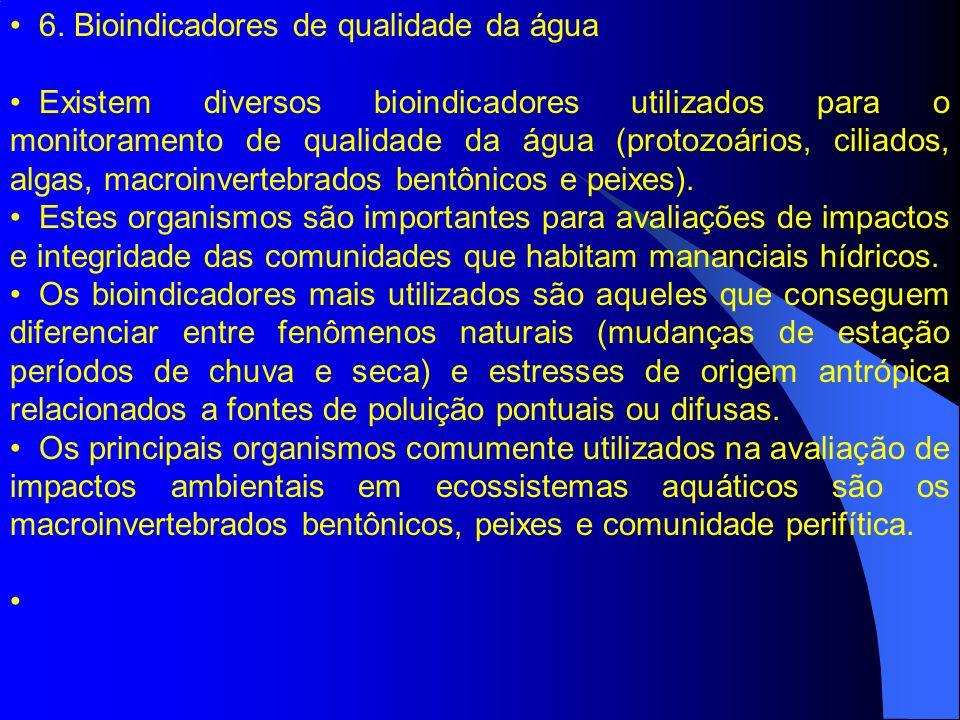 6. Bioindicadores de qualidade da água Existem diversos bioindicadores utilizados para o monitoramento de qualidade da água (protozoários, ciliados, a