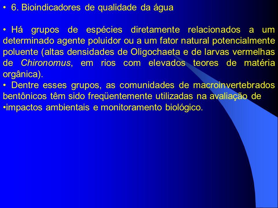 6. Bioindicadores de qualidade da água Há grupos de espécies diretamente relacionados a um determinado agente poluidor ou a um fator natural potencial