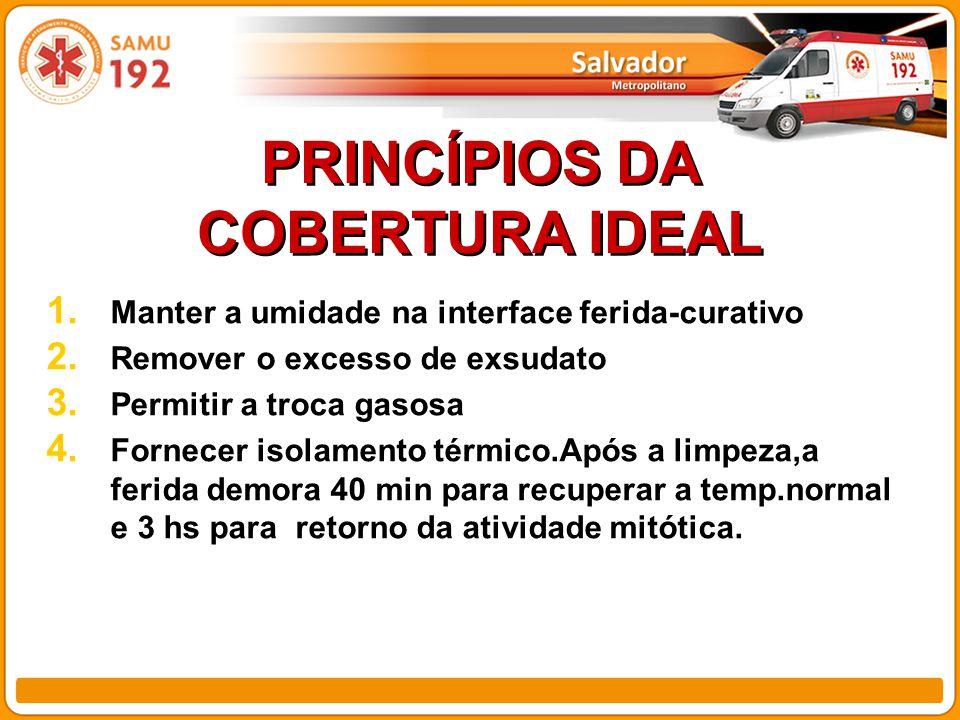 PRINCÍPIOS DA COBERTURA IDEAL 1.Manter a umidade na interface ferida-curativo 2.