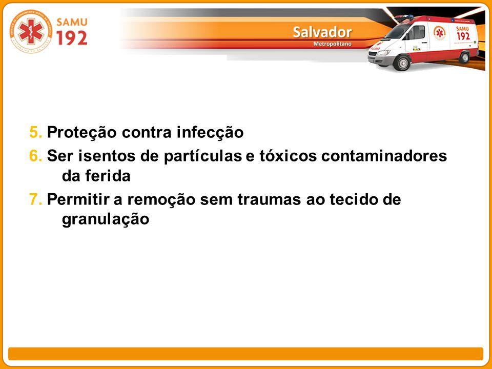 5. Proteção contra infecção 6. Ser isentos de partículas e tóxicos contaminadores da ferida 7. Permitir a remoção sem traumas ao tecido de granulação