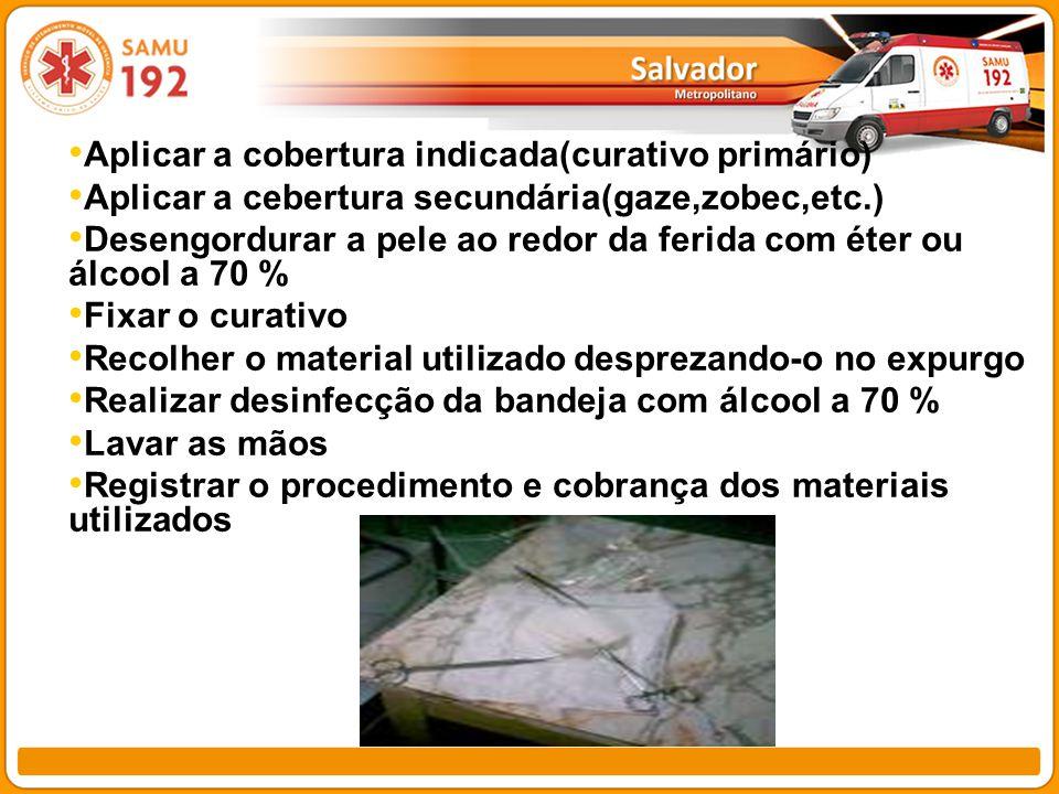 Aplicar a cobertura indicada(curativo primário) Aplicar a cebertura secundária(gaze,zobec,etc.) Desengordurar a pele ao redor da ferida com éter ou ál