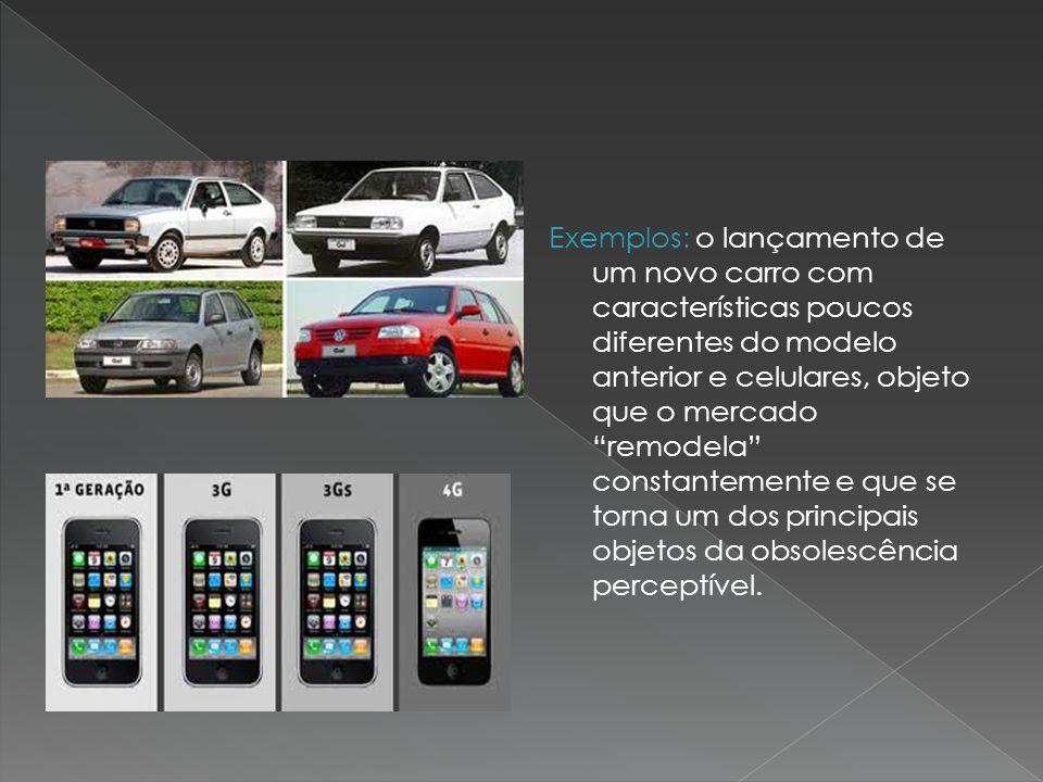 Exemplos: o lançamento de um novo carro com características poucos diferentes do modelo anterior e celulares, objeto que o mercado remodela constantem