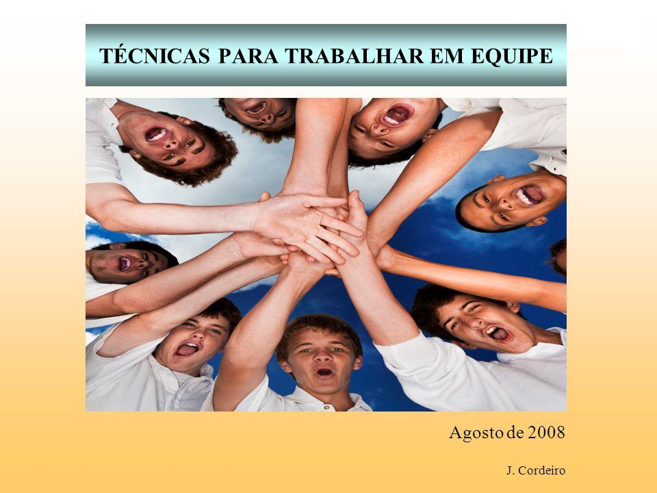 Agosto de 2008 TÉCNICAS PARA TRABALHAR EM EQUIPE J. Cordeiro