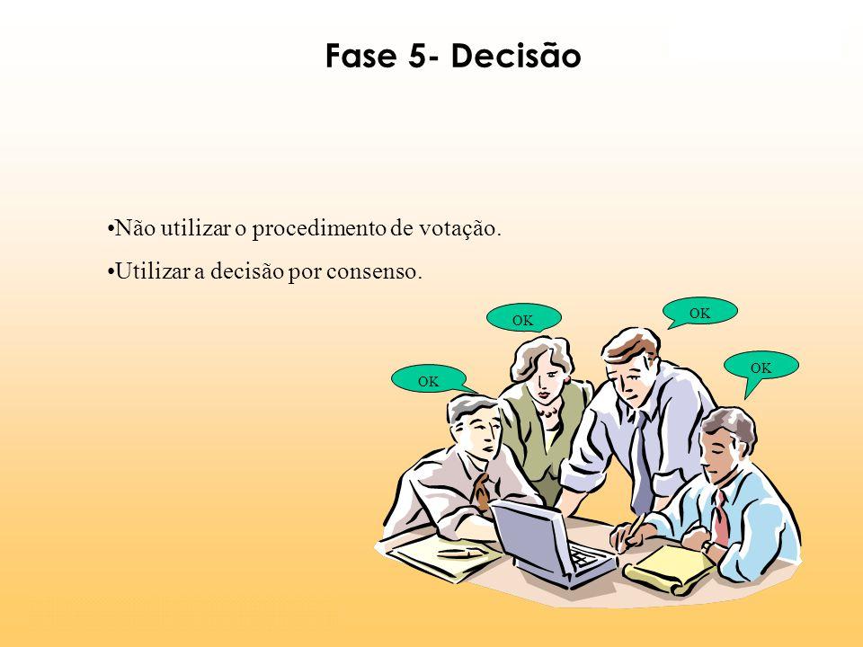 Não utilizar o procedimento de votação. Utilizar a decisão por consenso. OK