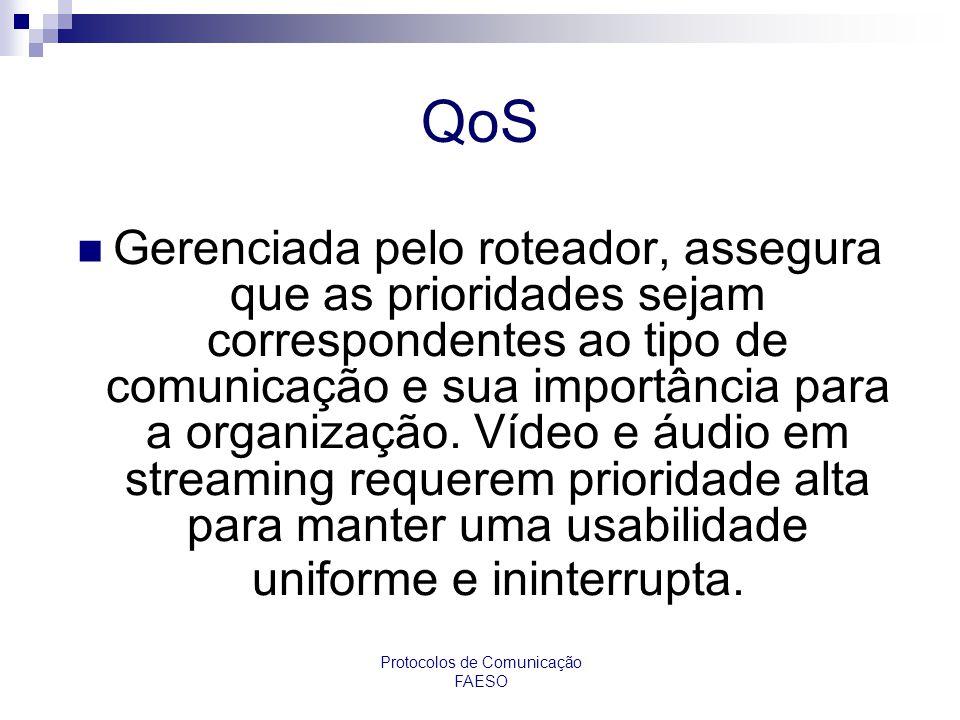 Protocolos de Comunicação FAESO QoS Gerenciada pelo roteador, assegura que as prioridades sejam correspondentes ao tipo de comunicação e sua importânc