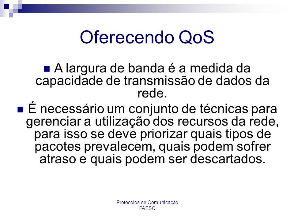 Protocolos de Comunicação FAESO Oferecendo QoS A largura de banda é a medida da capacidade de transmissão de dados da rede. É necessário um conjunto d