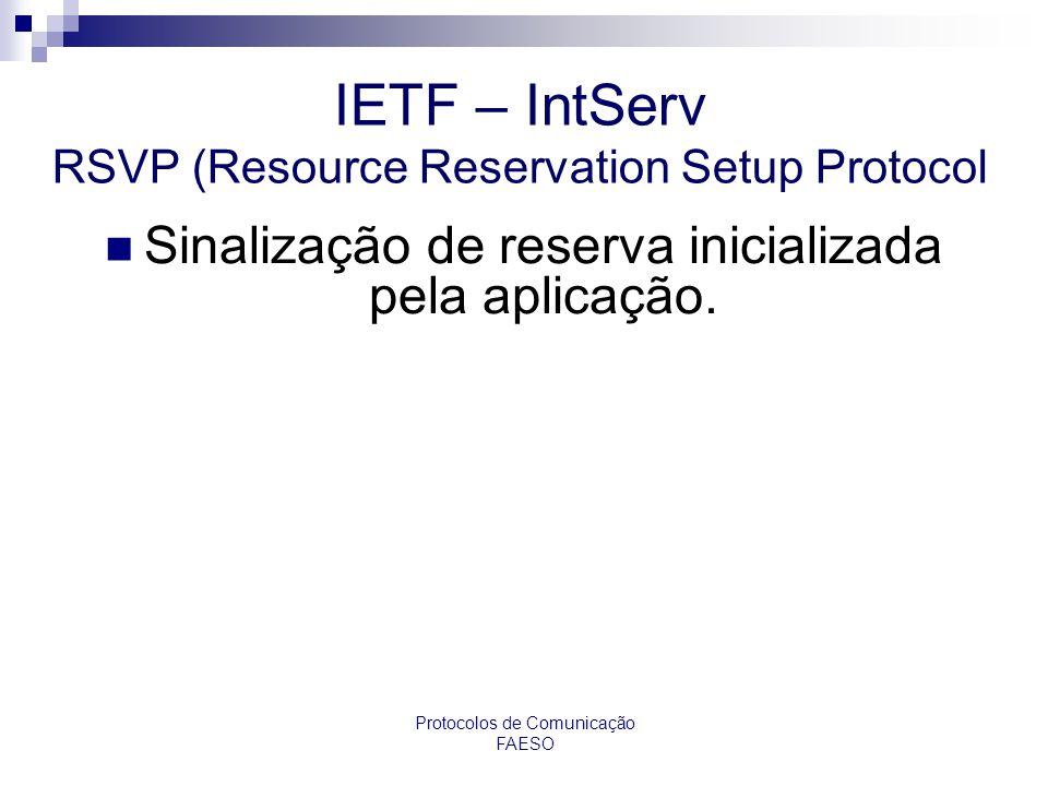 Protocolos de Comunicação FAESO IETF – IntServ RSVP (Resource Reservation Setup Protocol Sinalização de reserva inicializada pela aplicação.