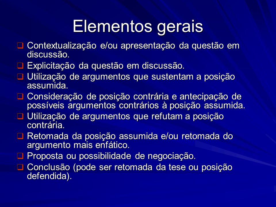 Elementos gerais Contextualização e/ou apresentação da questão em discussão. Contextualização e/ou apresentação da questão em discussão. Explicitação