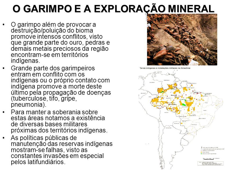 O GARIMPO E A EXPLORAÇÃO MINERAL O garimpo além de provocar a destruição/poluição do bioma promove intensos conflitos, visto que grande parte do ouro,