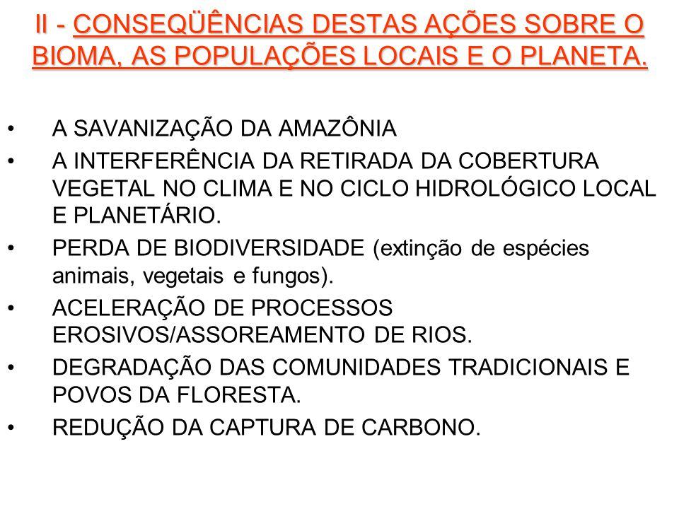 II - CONSEQÜÊNCIAS DESTAS AÇÕES SOBRE O BIOMA, AS POPULAÇÕES LOCAIS E O PLANETA. A SAVANIZAÇÃO DA AMAZÔNIA A INTERFERÊNCIA DA RETIRADA DA COBERTURA VE