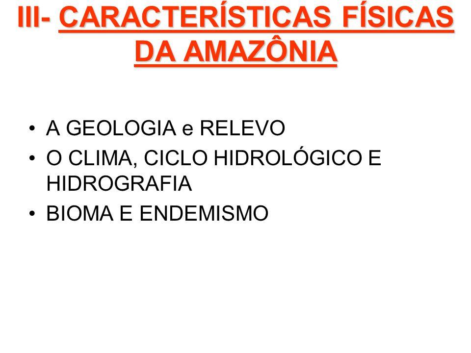 III- CARACTERÍSTICAS FÍSICAS DA AMAZÔNIA A GEOLOGIA e RELEVO O CLIMA, CICLO HIDROLÓGICO E HIDROGRAFIA BIOMA E ENDEMISMO