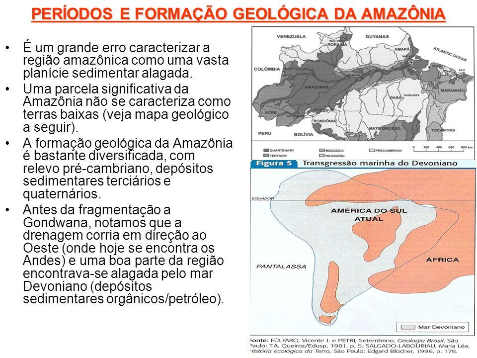 PERÍODOS E FORMAÇÃO GEOLÓGICA DA AMAZÔNIA É um grande erro caracterizar a região amazônica como uma vasta planície sedimentar alagada. Uma parcela sig