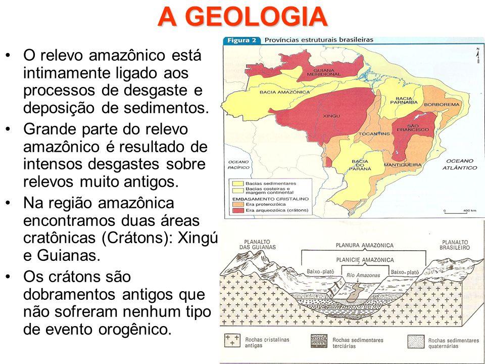 A GEOLOGIA O relevo amazônico está intimamente ligado aos processos de desgaste e deposição de sedimentos. Grande parte do relevo amazônico é resultad