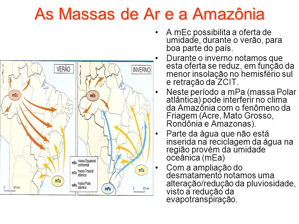 As Massas de Ar e a Amazônia A mEc possibilita a oferta de umidade, durante o verão, para boa parte do país. Durante o inverno notamos que esta oferta