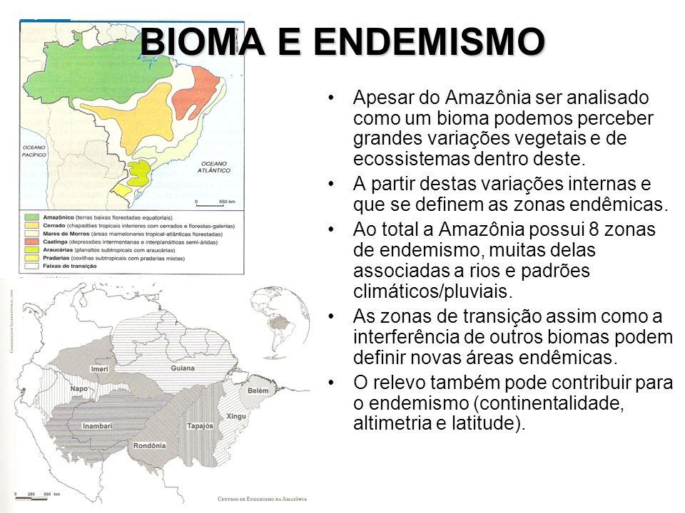 BIOMA E ENDEMISMO Apesar do Amazônia ser analisado como um bioma podemos perceber grandes variações vegetais e de ecossistemas dentro deste. A partir