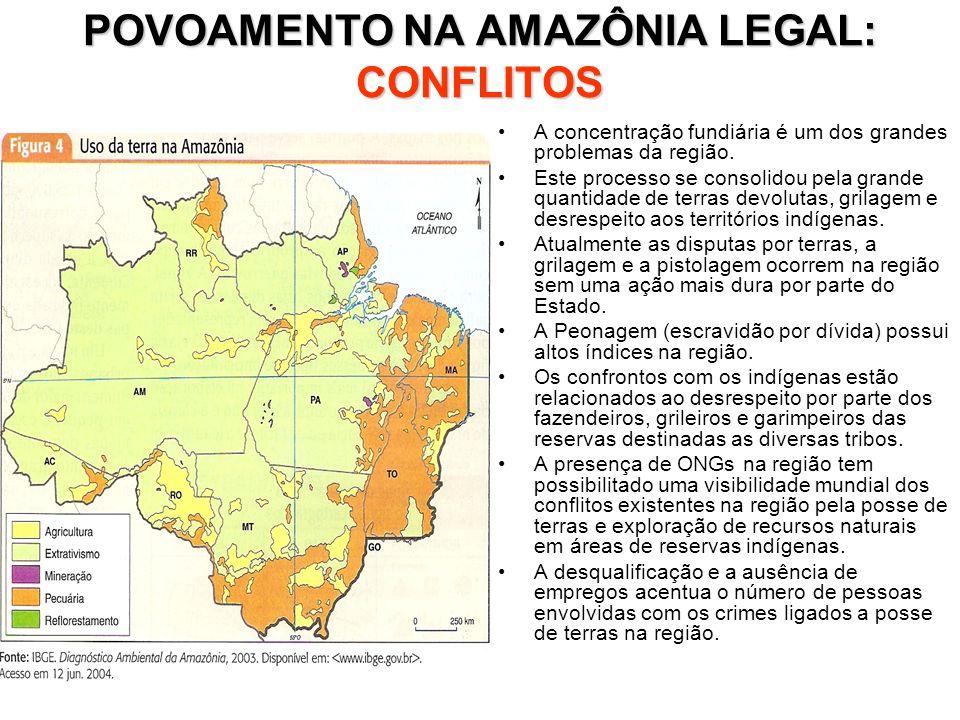 POVOAMENTO NA AMAZÔNIA LEGAL: CONFLITOS A concentração fundiária é um dos grandes problemas da região. Este processo se consolidou pela grande quantid