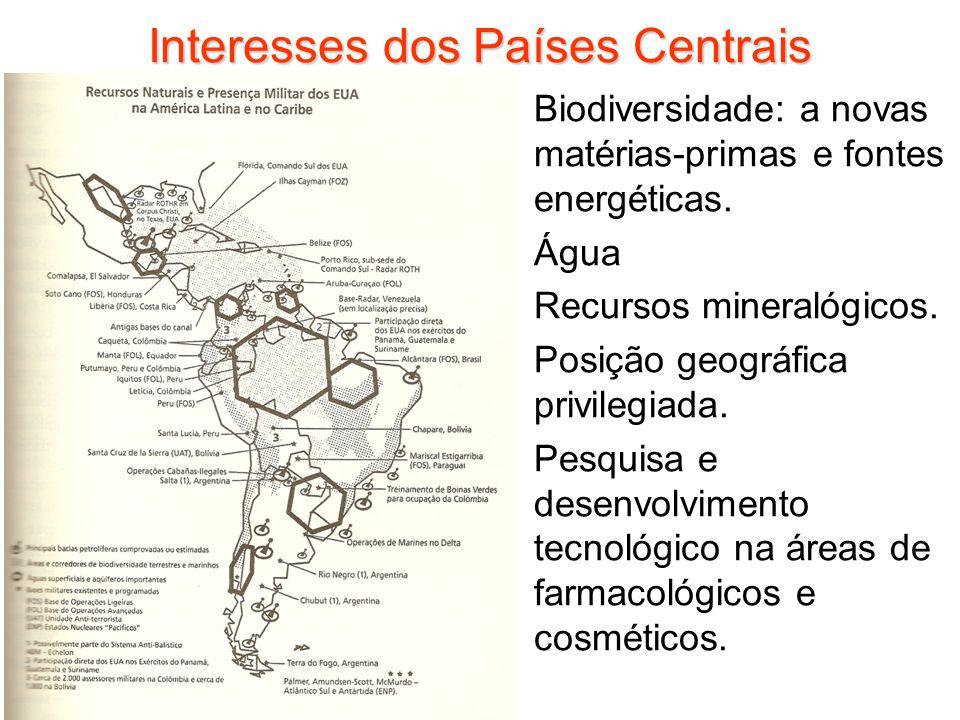 Interesses dos Países Centrais Biodiversidade: a novas matérias-primas e fontes energéticas. Água Recursos mineralógicos. Posição geográfica privilegi
