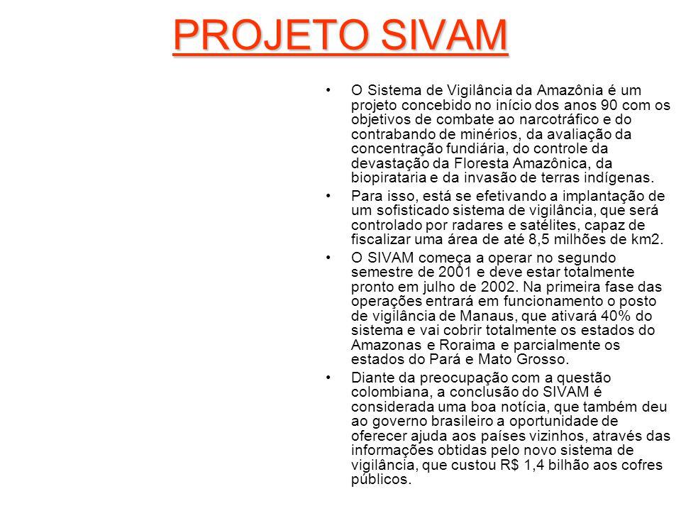 PROJETO SIVAM O Sistema de Vigilância da Amazônia é um projeto concebido no início dos anos 90 com os objetivos de combate ao narcotráfico e do contra