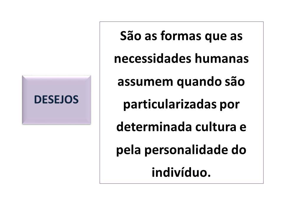 DESEJOS São as formas que as necessidades humanas assumem quando são particularizadas por determinada cultura e pela personalidade do indivíduo.