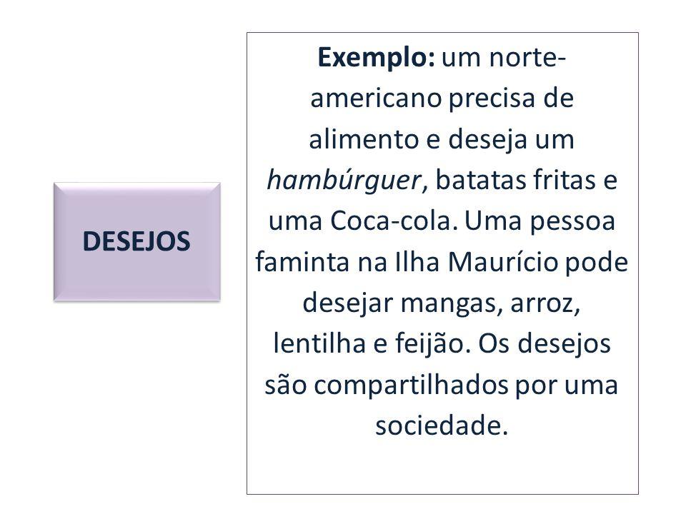 Exemplo: um norte- americano precisa de alimento e deseja um hambúrguer, batatas fritas e uma Coca-cola. Uma pessoa faminta na Ilha Maurício pode dese