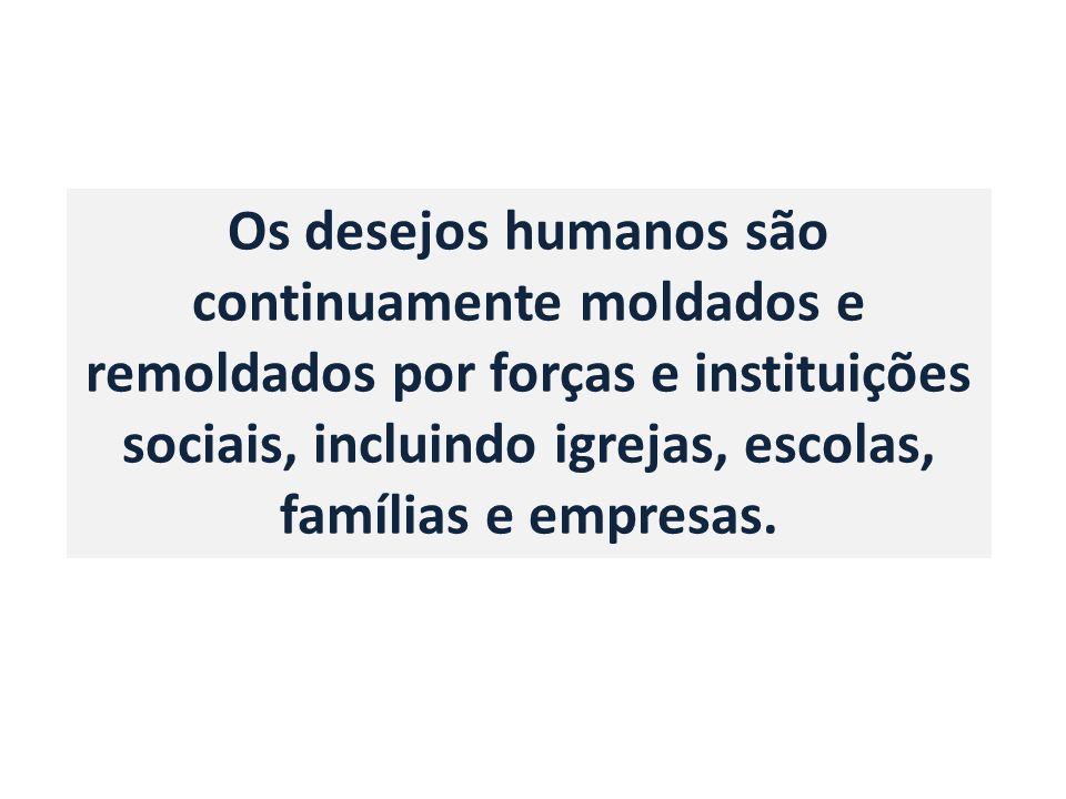 Os desejos humanos são continuamente moldados e remoldados por forças e instituições sociais, incluindo igrejas, escolas, famílias e empresas.