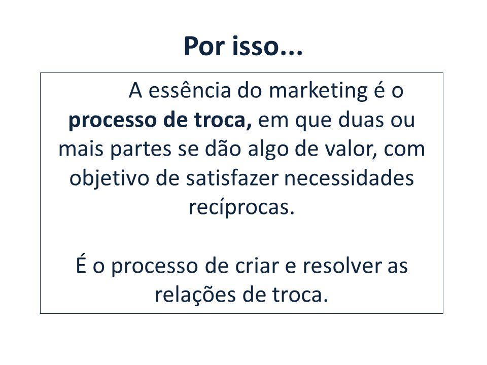 Por isso... A essência do marketing é o processo de troca, em que duas ou mais partes se dão algo de valor, com objetivo de satisfazer necessidades re