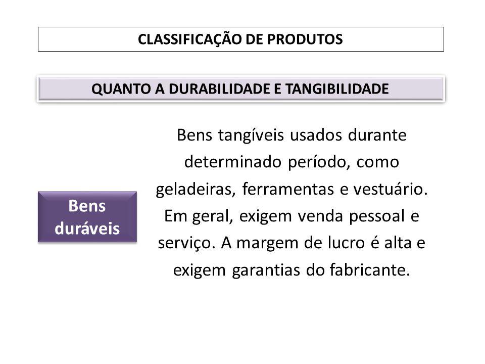 CLASSIFICAÇÃO DE PRODUTOS QUANTO A DURABILIDADE E TANGIBILIDADE Bens duráveis Bens tangíveis usados durante determinado período, como geladeiras, ferr