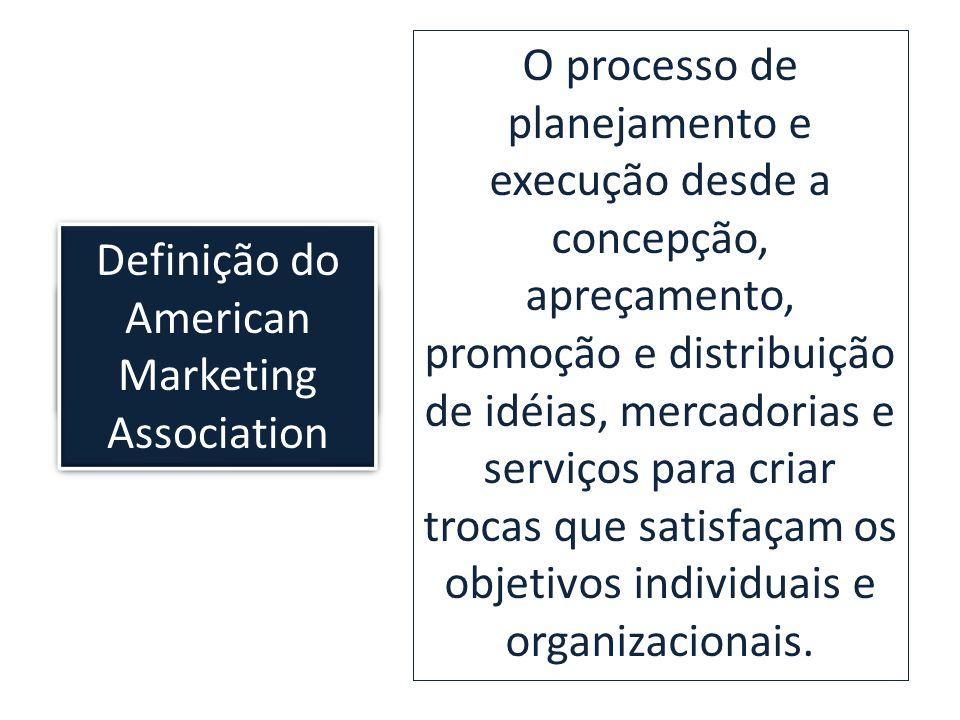 Kotler ensina que: O processo de planejamento e execução desde a concepção, apreçamento, promoção e distribuição de idéias, mercadorias e serviços par
