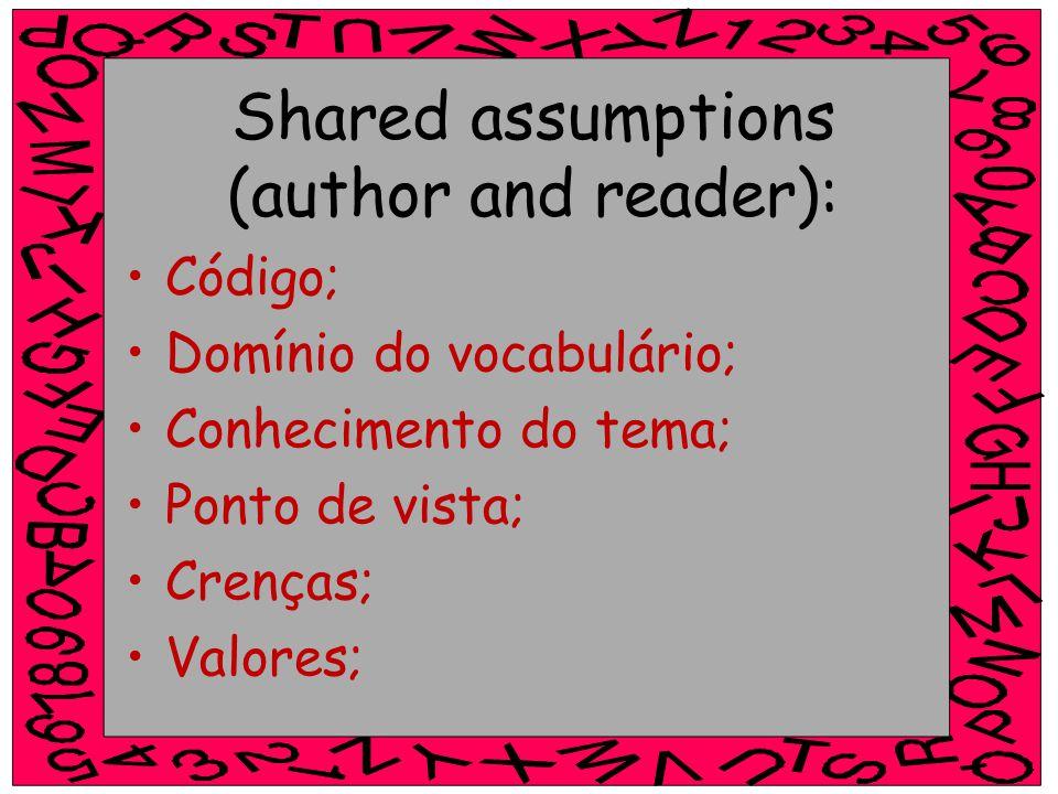 Shared assumptions (author and reader): Código; Domínio do vocabulário; Conhecimento do tema; Ponto de vista; Crenças; Valores;
