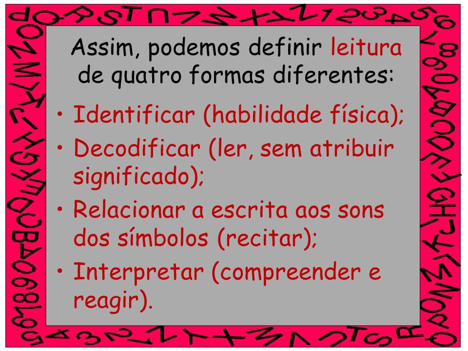 Assim, podemos definir leitura de quatro formas diferentes: Identificar (habilidade física); Decodificar (ler, sem atribuir significado); Relacionar a