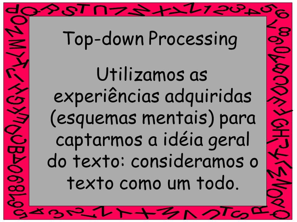 Top-down Processing Utilizamos as experiências adquiridas (esquemas mentais) para captarmos a idéia geral do texto: consideramos o texto como um todo.