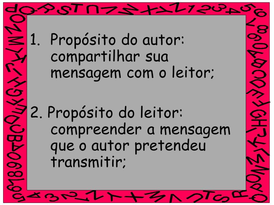 1.Propósito do autor: compartilhar sua mensagem com o leitor; 2. Propósito do leitor: compreender a mensagem que o autor pretendeu transmitir;