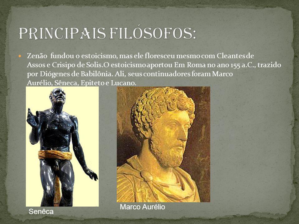 Zenão fundou o estoicismo, mas ele floresceu mesmo com Cleantes de Assos e Crisipo de Solis.O estoicismo aportou Em Roma no ano 155 a.C., trazido por Diógenes de Babilônia.