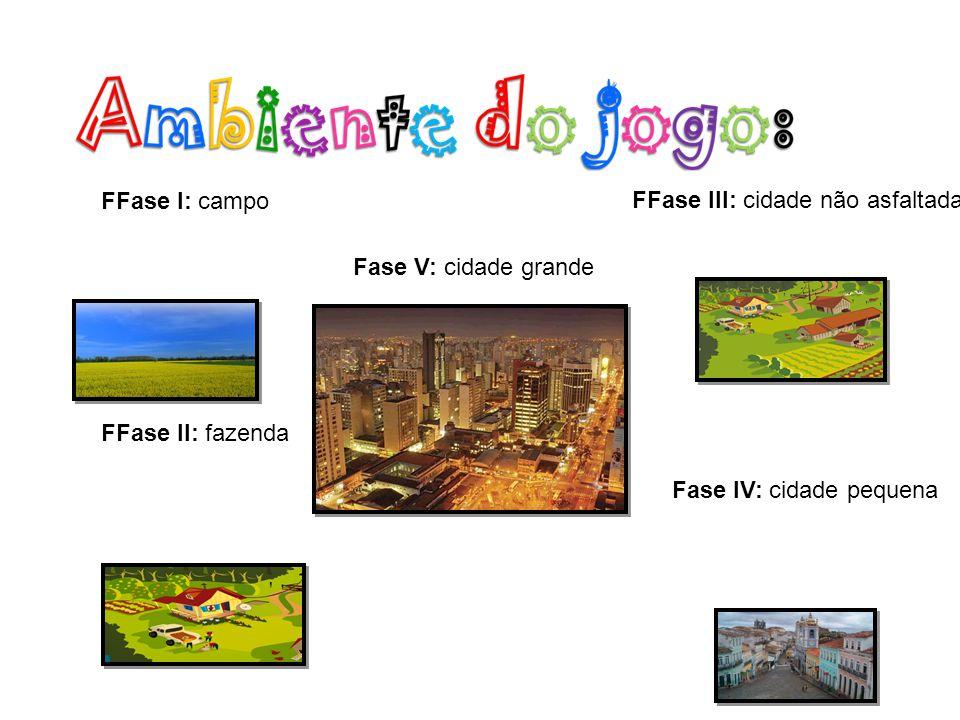 FFase I: campo FFase II: fazenda FFase III: cidade não asfaltada Fase IV: cidade pequena Fase V: cidade grande