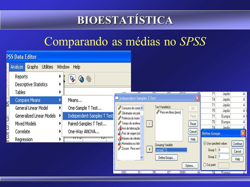 Comparando as médias no Microsoft Excel BIOESTATÍSTICA