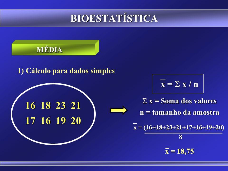 BIOESTATÍSTICA É um valor típico representativo de um conjunto de dados. Fisicamente representa o ponto de equilíbrio da distribuição. Modos de calcul