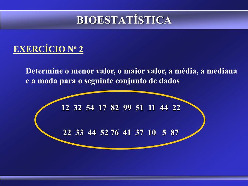 EXERCÍCIO N o 1 Determine a média, a mediana e a moda para o seguinte conjunto de dados BIOESTATÍSTICA 6 5 8 4 7 6 9 7 3