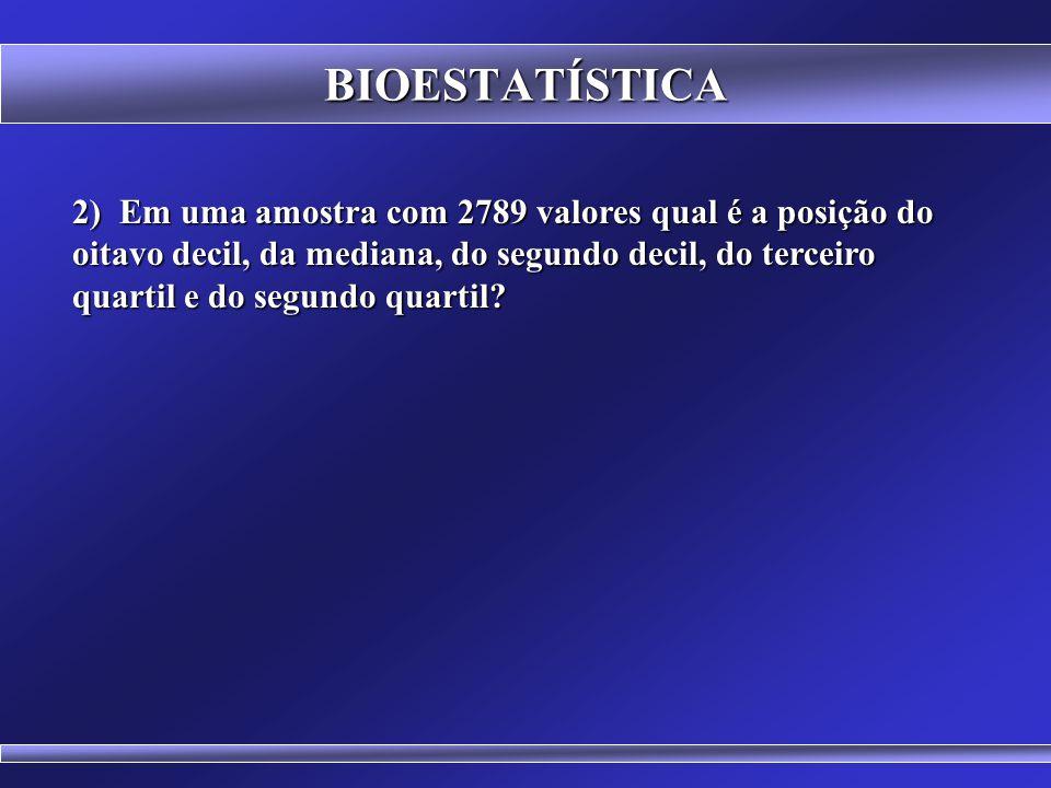 BIOESTATÍSTICA 1) Dado o conjunto de dados: a) apresente a disposição em rol; b) o Percentil 50, c) o Primeiro Quartil, d) a Média, e) a Moda e f) a M