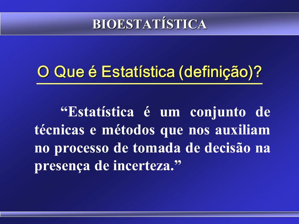 BIOESTATÍSTICA Estatística Inferencial, Indutiva ou Analítica (testes de hipóteses, estimativas) - Auxilia o processo de tomada de decisões - Responde uma dúvida, compara grupos com o uso de Testes Estatísticos - Testam-se 2 hipóteses (hipótese nula e hipótese alternativa), sendo que uma delas será aceita mediante a aplicação de um teste estatístico baseado na teoria das probabilidades.