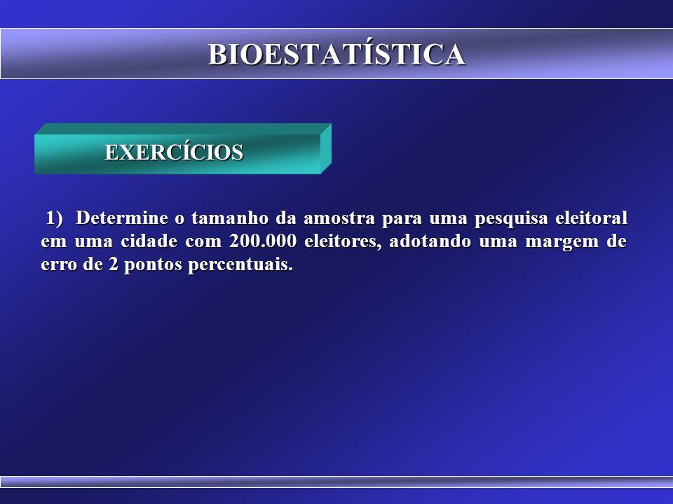 BIOESTATÍSTICA Relação entre o tamanho da população e o tamanho da amostra RELAÇÃO ENTRE (n) E (N) n N 600 500 400 300 200 100 0 0 500 1000 1500 2000
