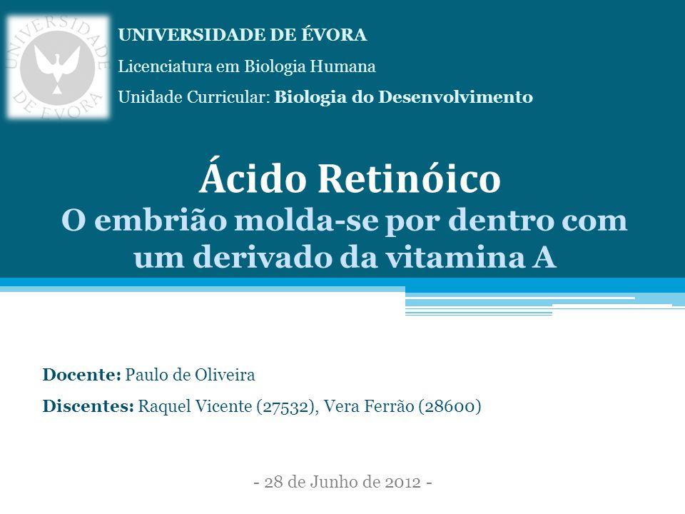Ácido Retinóico O embrião molda-se por dentro com um derivado da vitamina A Docente: Paulo de Oliveira Discentes: Raquel Vicente (27532), Vera Ferrão (28600) UNIVERSIDADE DE ÉVORA Licenciatura em Biologia Humana Unidade Curricular: Biologia do Desenvolvimento - 28 de Junho de 2012 -