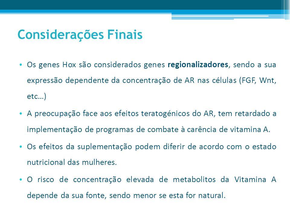 Considerações Finais Os genes Hox são considerados genes regionalizadores, sendo a sua expressão dependente da concentração de AR nas células (FGF, Wnt, etc…) A preocupação face aos efeitos teratogénicos do AR, tem retardado a implementação de programas de combate à carência de vitamina A.