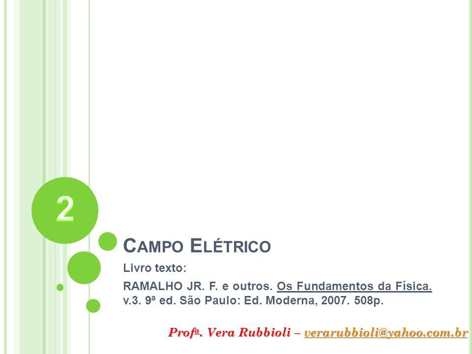 C AMPO E LÉTRICO Livro texto: RAMALHO JR. F. e outros. Os Fundamentos da Física. v.3. 9ª ed. São Paulo: Ed. Moderna, 2007. 508p. Prof a. Vera Rubbioli